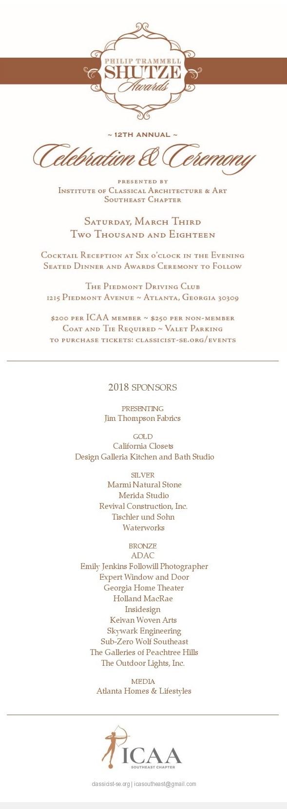 Southeast 12th Annual Shutze Awards Invitation 2