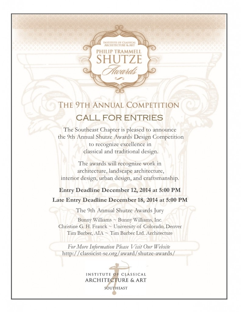 Shutze Awards 2015 Call for Entries Eblast with Jury and STD added